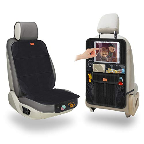 Aemiao – Funda para asiento de coche y protector de respaldo para asiento trasero, impermeable, para niños, ajuste universal, gran compartimento para iPad de 12,9 pulgadas