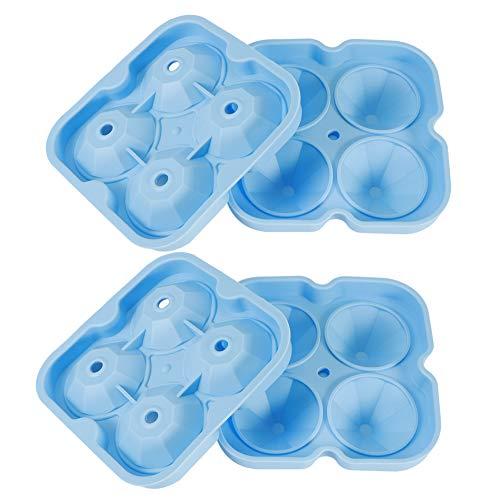 Atyhao Molde de Hielo, 2 Piezas de Silicona Reutilizable de 4 Orificios para Cubitos de Hielo, Bandeja para Hacer moldes, contenedor para Uso en la Barra de la Oficina en casa(Azul)
