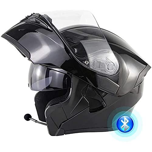 Casco Moto Integrato Bluetooth,Con Doppio Parasole Antiappannamento,Modulare Flip Full Face Casco Moto Universale per Uomo e Donna,Certificazione DOT/ECE C,S=53~54CM