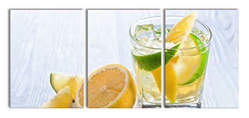 Gin-tonic met citroen schotXXL canvasbeeld 3 deel | 180x80cm volledige maatregel | Wanddecoraties | Kunstdruk