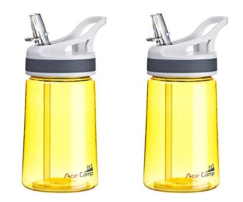 AceCamp Doppelpack TRITAN Trinkflasche   2X Wasserflasche auslaufsicher BPA-Frei   Sportflasche Trinkhalm I 350 ml I Gelb I 155129