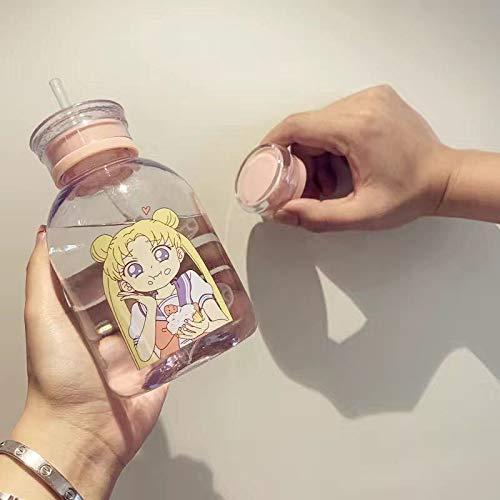Botella de agua de plástico de 500 ml, sin BPA, a prueba de fugas, con pajita, para jugo de agua, taza portátil (color transparente A1)
