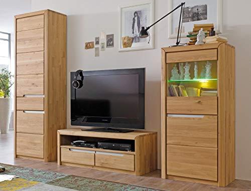 Wohnwand Pisa 24 Eiche Bianco massiv 3-teilig Medienwand TV-Wand Wohnzimmer TV-Möbel