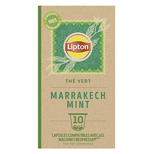 Lipton Thé Vert Marrakech Mint, Capsules Compatibles Nespresso Label Rainforest Alliance 10 Capsules