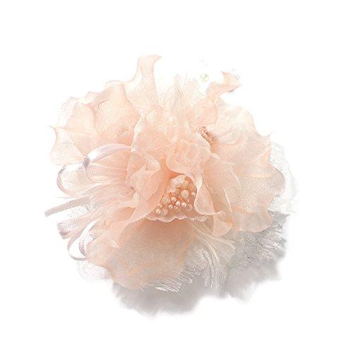 (クレインズコレクション) 手作り コサージュ ブローチ シフォン 2WAY クリップ ピン フォーマル シーンや エレガント な装いに(ピンク)