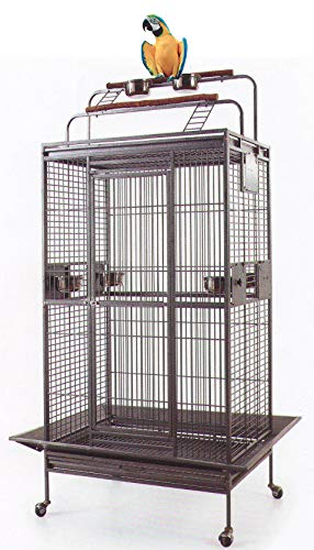 Mcage 70' Large Wrought Iron Bird Parrot Cage Double Ladders Open/Close Play Top, Include Seed Guard and Double Play TopBlack Hammertone