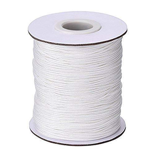 Trimming Shop 2mm Blanco Cuerda de Nailon Trenzado para Aluminio Persianas, Sombras - Blanco, 250 Meters