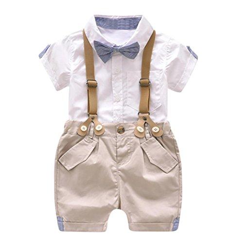 Jimmackey Wossei 2Pcs Bambino Ragazzo Camicia Bowknot Cravatta T-Shirt Cime + Bretelle Pantaloncini Abiti Set (Bianca, 12 Mesi)