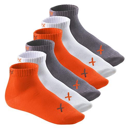 CFLEX Lifestyle Herren & Damen Kurzschaft Socken (6 Paar), Baumwoll Quarter Socken - Poppy Excalibur 43-46