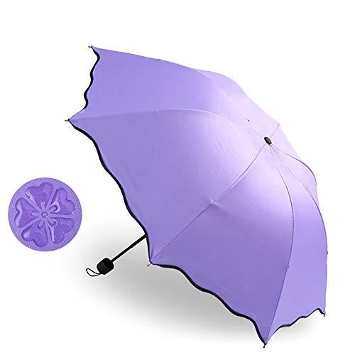 日傘 折りたたみ 超軽量 UVカット 100 遮光 UPF50+ 折り畳み日傘 レディース 晴雨兼用 折りたたみ傘 かわいい花柄 コンパクト 携帯便利 日焼け防止 耐風撥水 収納ポーチ付き (パープル)