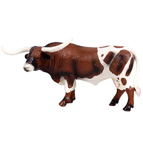 Kaxofang Plastic Long Horn Bull Cattle Animals Action Figures Static Cute Model Collection Cow Model Toys for Kids