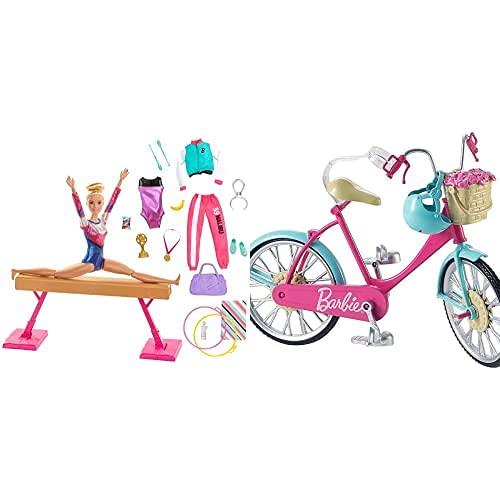 Barbie Olimpíadas, Muñeca Gimnasta, Barra De Equilibrios De Juguete Y Más De 15 Accesorios (Mattel Gjm72)+ Bicicleta, Accesorios Muñeca (Mattel Dvx55)
