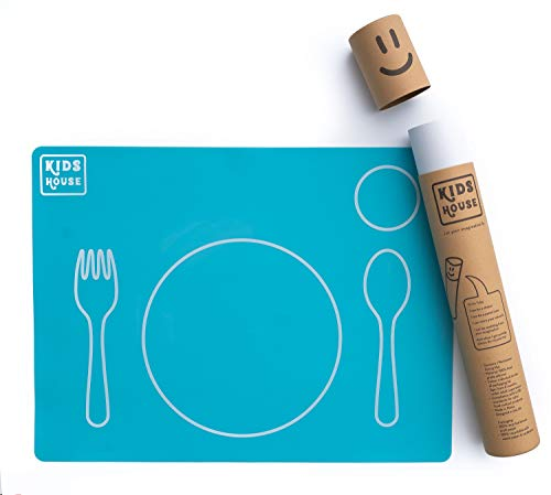 Montessori Placemat Silicone Toddler Mealtime - Independence at Home! Non-Slip, Easy-to-Clean, Dining Mat Great for Weaning & Setting Table – Montessori Materials - Teal, KIDS HOUSE
