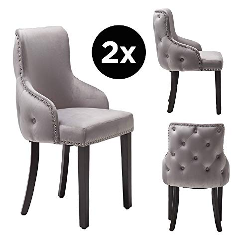 PS Global Set de 2 sillas de comedor Grace lujosas, de fácil montaje, tachuelas cromadas, parte posterior con mechones, parte posterior de botones profundos, terciopelo de felpa (gris claro)