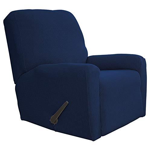 Funda elástica para sofá reclinable de fácil uso, 4 piezas, protector de muebles, suave con parte inferior elástica para niños, tela de jacquard de licra, cuadros pequeños (reclinable, azul marino)