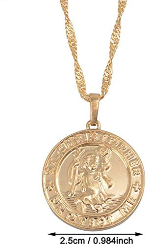 niuziyanfa Co.,ltd St. Christopher Protect Me Necklaces for Women Light Gold/Silver Colored Saint Christophe Pendant Religious Jewelry