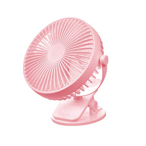 Battery Operated 2500mAh Rechargeable USB Powered Mini Desk Fan,Portable Clip on Fan for Baby Stroller Office Outdoor Pink