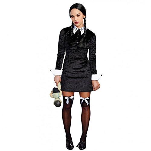Dreamgirl AG Kostüm Böses Mädchen Wednesday Kleid Schwarz Fasching Addams Family (L)