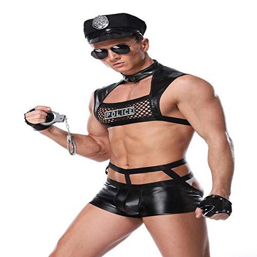 \t Ropa Interior Sexy para Hombres tentación Uniforme, Traje de policía Masculino Cosplay Sexy Discoteca Negra Bar Ropa de Rendimiento Ropa Interior para Adultos-Regalo para Esposo y Amante