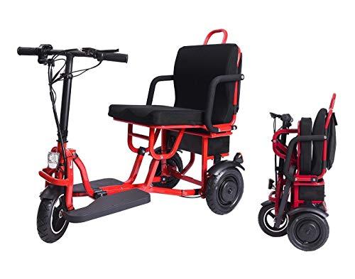 YQGOO Scooter de Movilidad eléctrico Plegable de 3 Ruedas Patinete de Viaje...