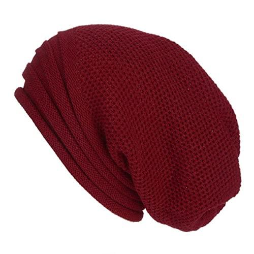 Uniqueheart Sombreros de múltiples Rayas Hombres y Mujeres Sombreros de Pila con Capucha Que preservan el Calor Sombreros de Lana de Punto Hip-Hop - Rojo Vino