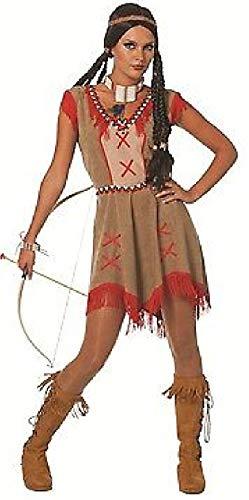 narrenkiste W4711-52 - Vestido de india para mujer (talla 52), color marrón y rojo