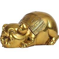 チャイニーズスタイルの風水装飾品/風水ウェルスツリー真鍮風水豚像中国の月の豚の年は富を引き付ける中国の干支の彫刻の宝庫の彫像