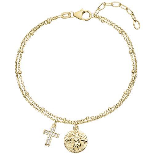 JOBO Damen Armband Kreuz Christopherus 925 Sterling Silber gold vergoldet 11 Zirkonia 19 cm