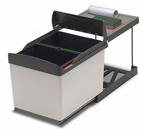 Pattumiera estraibile per sottolavello cucina 2 secchi da 16L raccolta differenziata - Automatica, scorrevole 516