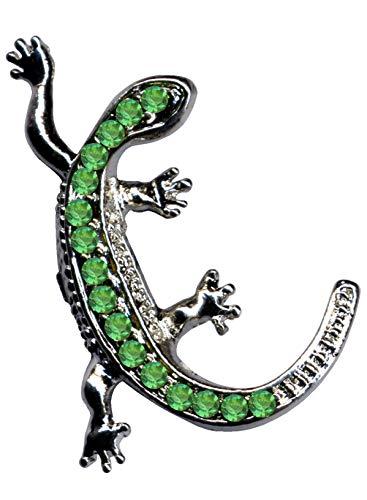 Colgante con forma de lagarto verde salamandra animal lagarto, plata de ley 925 con circonitas, cristales de estrás, joya de plata de ley 925