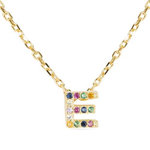 LUXENTER Collar Alphabet con baño de Oro Amarillo de 18 Quilates - Letra