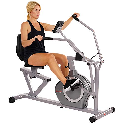 Sunny Health & Fitness Magnetic Recumbent Exercise Bike, 350lb High Weight Capacity, Cross Training, Arm Exercisers, Monitor, Pulse Rate Monitoring | SF-RB4708