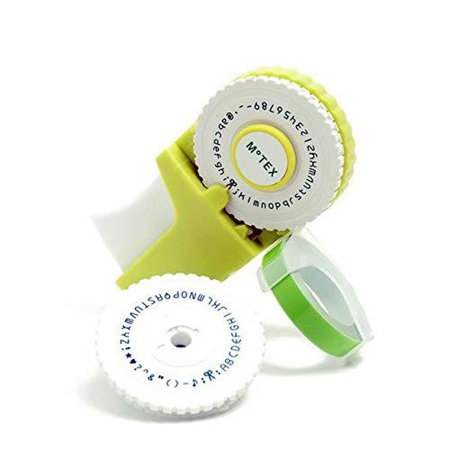 Etikettendrucker Handgerät Etikettiermaschine DIY Handetikettendrucker Mini Hand Dekoband Handschreibmaschine mit einer Rolle schwarzem Klebeband mit 2 Zifferblättern Elektronisches Beschriftungsgerät
