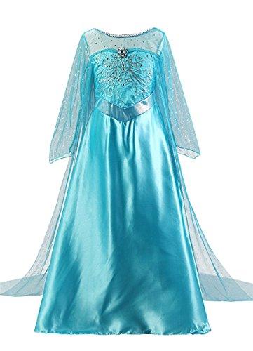 Kosplay Mädchen Partei Kostüm Prinzessin Kleid Prinzessin Kleid Kostüme Eiskönigin Prinzessin Kostüm Kinder Kleid Mädchen Verkleidung Karneval Party Halloween Fest Blau 110