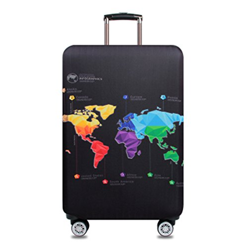 YianBestja Elastic Dustproof Travel Luggage Suitcase Protective Cover Trolley Luggage Baggage Protector Case for 18'-32' Inch Luggage (Map, XL (29-32 inch Luggage))