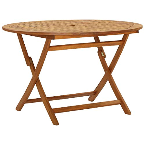 vidaXL Solid Acacia Wood Folding Garden Table Foldable Outdoor Furniture Patio Slatted Wooden Bistro Dining Dinner Side Table 120 cm