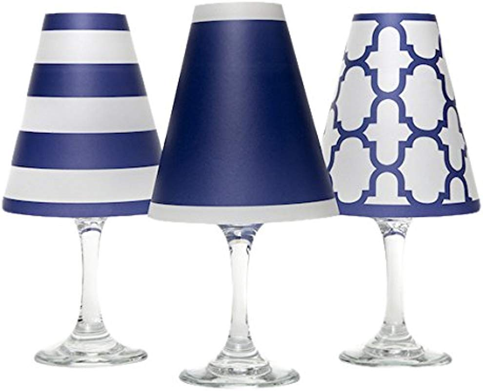 Di Potter WS132 Nantucket Paper White Wine Glass Shade Navy Pack Of 6