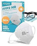 XIQUE 50 mascarillas FFP2 certificadas CE, protección respiratoria de 5 capas, EN 149:2001 + A1:2009 - EU 2016/425, con paño antivaho para gafas, 50 unidades