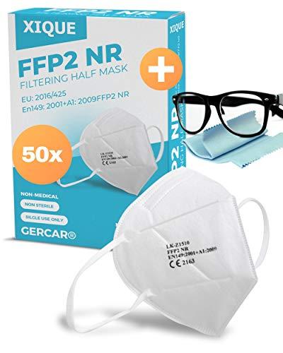 XIQUE 50x FFP2 Maske CE zertifiziert Atemschutzmaske Mundschutz Schutz 5 Lagig - EN 149:2001+A1:2009 - EU 2016/425 - mit Antibeschlagtuch für Brille im SET - Menge 50 Stück