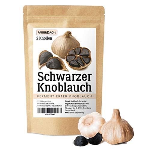 Schwarzer Knoblauch aus Spanien • 2 große Knollen Fermentierter Knoblauch • Black Garlic • 90 Tage fermentiert