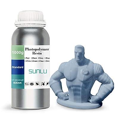 SUNLU 3D Printer Rapid Resin LCD UV-Curing Resin 405nm Standard Photopolymer Resin for LCD 3D Printing 500 Gram, Transparent Blue