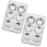 Homikit - Set di 6 stampi per muffin, in acciaio INOX, 2 pezzi, per 6 muffin, budini, 29 x 18 cm, di alta qualità e sano, lavabili in lavastoviglie