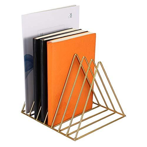 Desktop Bücherregal kreatives Metall Dreieck Schreibtisch Speicher Organisator CD Halter DVD Halter Medienbox Regal Bücherregal Tisch Organizer(Gold)