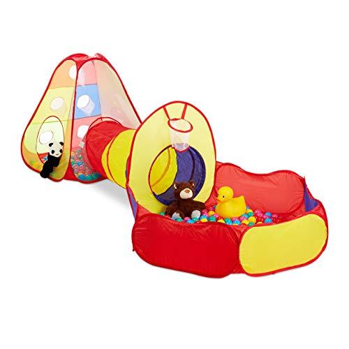 Relaxdays 10024761 Bällebad mit Tunnel, 3-teilig, mit 100 Bällen, Indoor & Outdoor, ab 3 Jahre, Pop-Up-Kinderspielzelt, bunt