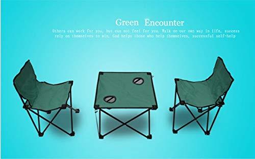 Table Extérieur renforcé Pliant HDS Basse Trois pièces Ensemble, Tissu Oxford Garden Pliante et Chaise, Salle à Manger extérieure Loisirs et chaises (Color : Green)