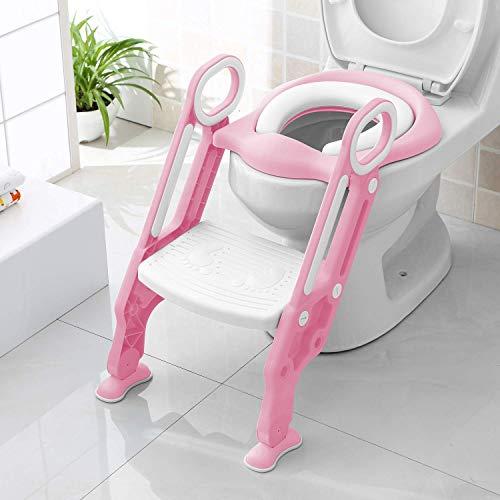 Bamny Adaptador WC Niños con Escalera, Asiento Inodoro Niños Ajustable para Orinal Infantil Formación, Seguro, Antideslizante (Rosa)