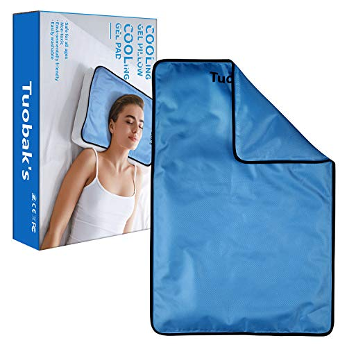 TuoBak's Gel Kühlendes Kissen I Kühlkissen I Kühlgelkissen 60×40cm- kühlende Gelkissen-hilft bei Kopfschmerzen, Menopause, Nachtschweiß und Hitzewallungen