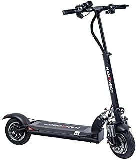 NANROBOT Power D5+ Foldable Lightweight 2000W Electric Scooter with Top Speed of 40 MPH and Traveling up to 50 Miles Range - Black