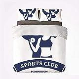 Qoqon Juego de Funda nórdica Fitness Warm Juego de 3 Camas, Club de culturistas Deportivos Hombre y Mujer con Pesas Músculos Bíceps Forma Decorativa para la habitación