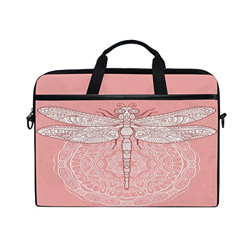 HAIIO Laptop Bag Case Tribal Mandala Flower Dragonfly Animal Computer Protector Bag 14-14.5 inch Travel Briefcase with Shoulder Strap for Women Men Girl Boys